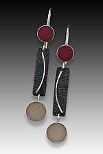 Dot Bar Dot Earring by Eileen Sutton (Silver & Resin Earrings)