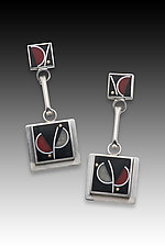 Two Square Red Flower Earring by Eileen Sutton (Silver & Resin Earrings)