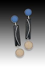 Dot Bar Dot Earring in Blue and Black by Eileen Sutton (Silver & Resin Earrings)