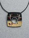 Canal Square Pin Pendant Red Flower by Eileen Sutton (Mixed-Media Necklace)