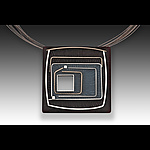L Carved Square Pin/Pendant by Eileen Sutton (Silver & Resin Necklace)