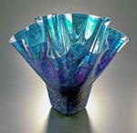 Luster Shell Bowl: Cobalt by Jonathan Winfisky (Art Glass Vessel)