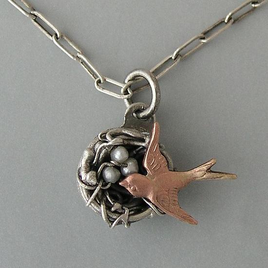 Birds nest necklace by thomas mann silver pearl necklace birds nest necklace by thomas mann silver pearl necklace artful home aloadofball Choice Image