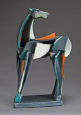 Slab-Built Horse, Looking Back by Jeri Hollister (Ceramic Sculpture)