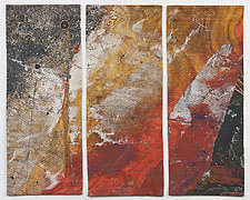 Red Rock Triptych by Marilyn Henrion (Fiber Wall Hanging)