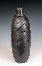 Black Chevron Bottle by Larry Halvorsen (Ceramic Vessel)