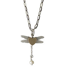 Dragonfly Charm Necklace by Thomas Mann (Silver, Bronze & Pearl Necklace)