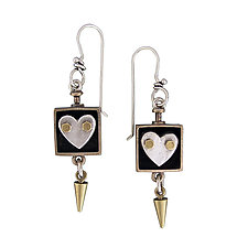 Silver Heart in a Box by Thomas Mann (Silver, Brass & Bronze Earrings)