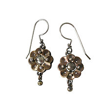 Small Techno Bloom by Thomas Mann (Silver, Brass & Bronze Earrings)