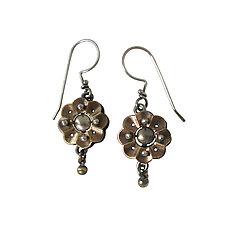 Small Techno Bloom by Thomas Mann (Silver, Brass & Bronze Earrings)