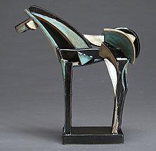 Long Stoneware Slab-Built Horse by Jeri Hollister (Ceramic Sculpture)