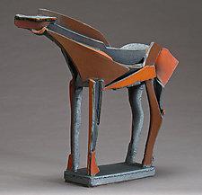 Dark Slips Slab-Built Horse by Jeri Hollister (Ceramic Sculpture)