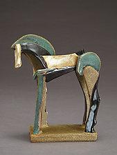 Tricolor Reduction Series, Icelandic Horse by Jeri Hollister (Ceramic Sculpture)