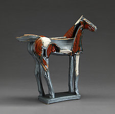 Bordeaux and Sandstone Horse - Tribute Series by Jeri Hollister (Ceramic Sculpture)