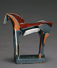 Tri-color Earthenware Series, Red Calm by Jeri Hollister (Ceramic Sculpture)