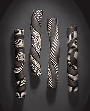 Sculptural Wall Tube Set by Larry Halvorsen (Ceramic Wall Sculpture)