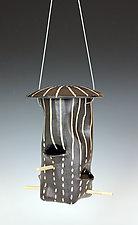 Dots and Dashes Bird Feeder by Larry Halvorsen (Ceramic Bird Feeder)