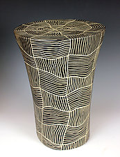 Woven Round Table by Larry Halvorsen (Ceramic Side Table)