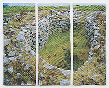 Old Stones Triptych by Marilyn Henrion (Fiber Wall Hanging)