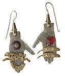 Collage Hand Earrings by Thomas Mann (Metal Earrings)