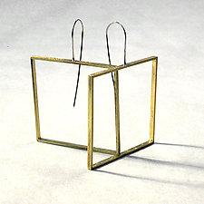 Big Square Slice Earrings by Emanuela Aureli (Brass Earrings)