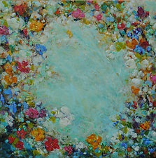 Aqua Floral Burst by Lori Austill (Oil Painting)