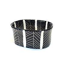 Sgraffito Oval Bowl Black and White by Matthew A. Yanchuk (Ceramic Bowl)