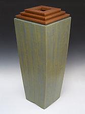 Blue/Green Vessel by Douglas W. Jones and Kim Kulow-Jones (Wood Sculpture)