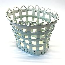 Oval Lattice Basket by Matthew A. Yanchuk (Ceramic Basket)
