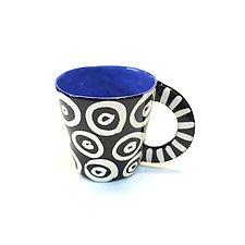 Large Mug in Blue with Donut Pattern by Matthew A. Yanchuk (Ceramic Mug)