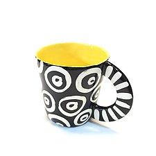 Large Mug in Yellow with Donut Pattern by Matthew A. Yanchuk (Ceramic Mug)