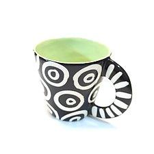 Large Mug in Bright Green in Donut Pattern by Matthew A. Yanchuk (Ceramic Mug)