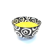 Small Round Bowl in Yellow with Donut Pattern by Matthew A. Yanchuk (Ceramic Bowl)