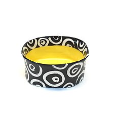 Small Oval Bowl in Yellow with Donut Pattern by Matthew A. Yanchuk (Ceramic Bowls)