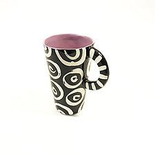 Tall Mug with Purple and Donut Pattern by Matthew A. Yanchuk (Ceramic Mug)