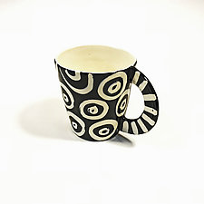 Large Mug in Black and White with Donut Pattern by Matthew A. Yanchuk (Ceramic Mug)