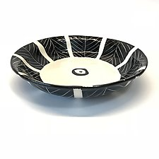 Pasta Bowl Black and White with Sgraffito Pattern by Matthew A. Yanchuk (Ceramic Bowl)