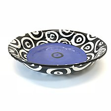 Pasta Bowl in Blue with Donut Pattern by Matthew A. Yanchuk (Ceramic Bowl)