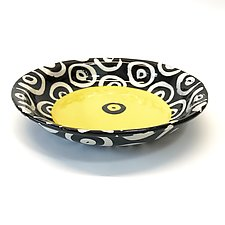 Pasta Bowl in Bright Yellow with Donut Pattern by Matthew A. Yanchuk (Ceramic Bowl)