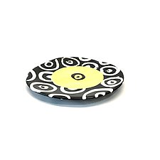 Small Disc Plate in Bright Yellow with Donut Pattern by Matthew A. Yanchuk (Ceramic Plate)