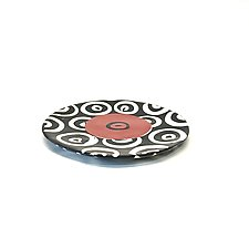Small Disc Plate in Red with Donut Pattern by Matthew A. Yanchuk (Ceramic Plate)