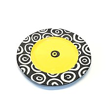 Round Rim Plate in Bright Yellow with Donut Pattern by Matthew A. Yanchuk (Ceramic Plate)