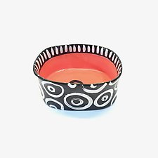 Small Oval Bowl in Orange Red with Donut Pattern by Matthew A. Yanchuk (Ceramic Bowl)