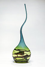 Goccia in Lime and Steel Blue by Victor Chiarizia (Art Glass Sculpture)