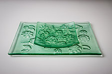 Kiln-Carved Tray Set by Carol Green (Art Glass Tray)