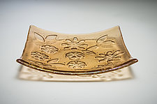 Champagne Pink Kiln-Carved Plate by Carol Green (Art Glass Plate)