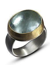 Aquamarine Cabochon Ring by Nancy Troske (Gold, Silver & Stone Ring)