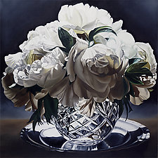 White Peonies with Crystal and Pewter by Barbara Buer (Giclee Print)