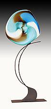 Ocean Volo Floor Sculpture by Janet Nicholson and Rick Nicholson (Art Glass Sculpture)