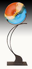 Mango Volo Floor Sculpture by Janet Nicholson and Rick Nicholson (Art Glass Sculpture)